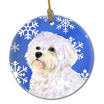 Maltese Winter Snowflakes Holiday Christmas Ceramic Ornament SS4619