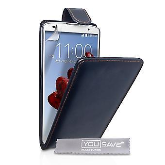 Yousave Аксессуары для LG G Pro 2 кожа эффект флип случае - черный