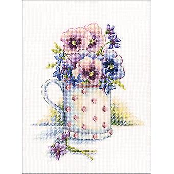 First Violets Counted Cross Stitch Kit-5.25