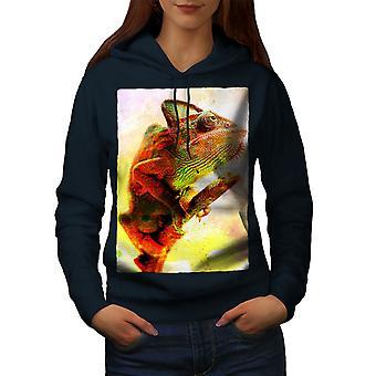 Camaleón salvaje Animal arte mujeres NavyHoodie | Wellcoda
