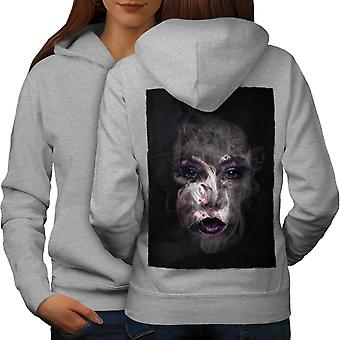 Mystery Girl Cool Fashion Women GreyHoodie Back | Wellcoda