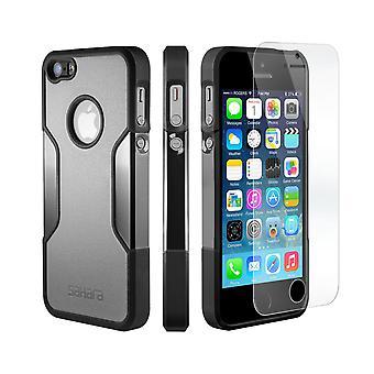 SaharaCase® caso del iPhone 5s/SE/5 niebla gris, clásico paquete Kit de protección con vidrio templado de ZeroDamage®