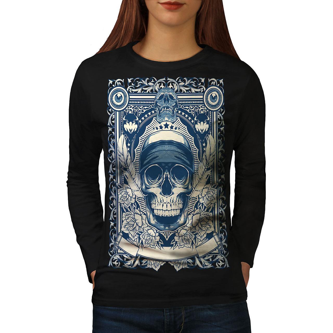 Dag dood doezelen T-shirt van de koker van de BlackLong van de vrouwen van schedel | Wellcoda