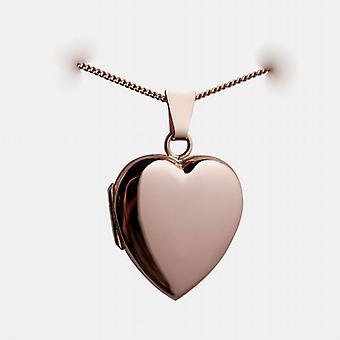 9ct Rose Gold 22x19mm zwykły w kształcie serca medalion z krawężnika łańcucha 16 cali nadaje się tylko dla dzieci
