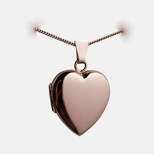 9ct Rose Gold 22x19mm plain heart shaped Locket with a curb Chain 16 inches Only Suitable for Children