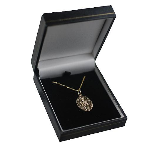 9ct Gold 20x16mm Miraculous Medallion Medal Pendant with a cable Chain 16 inches Only Suitable for Children