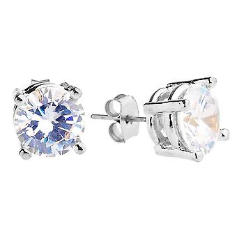 Iced out bling round cubic zirconia Stud Earrings - silver