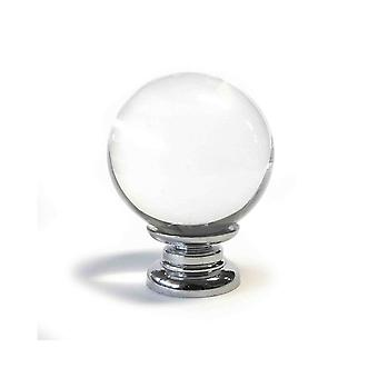 Clear Crystal Cut Spherical Glass Knob (S)