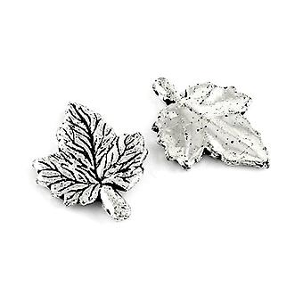 Packet 10 x Antique Silver Acrylic 36mm Maple Charm/Pendant ZX00970