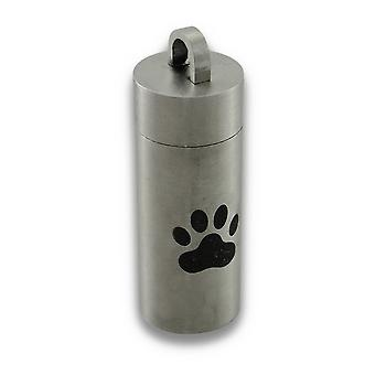 Stainless Steel Engraved Paw Print Chamber Stash Pendant Pill Vial