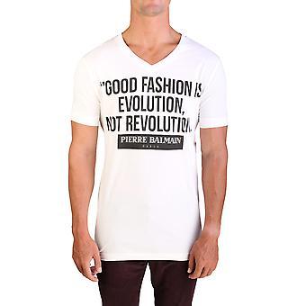 Pierre Balmain mænds grafisk Logo v-hals T-Shirt rå hvid
