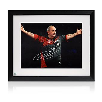 Framed Phil Taylor Signed Darts Photo: The Power