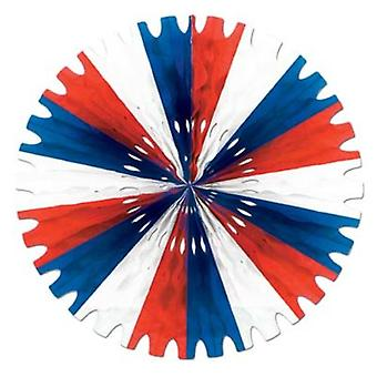 Tissue Fan Decoration - Red, White & Blue