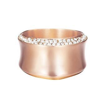 ESPRIT women's ring rostfritt stål Rosé Crystal böjd ESRG12542C1