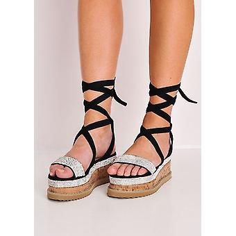 Diamante Wildleder Schnürschuh Flatform Schuhe Sandalen Schwarz