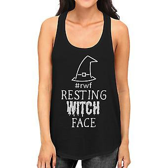 Resting Witch Face Funny Womens Halloween Tshirt Black Tank Top