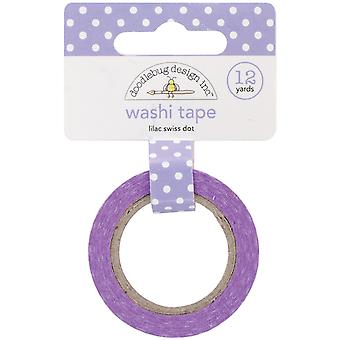 Doodlebug Washi Tape 15mm X 12yd-Lilac Swiss Dot