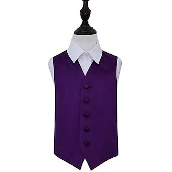Purple Plain Satin Wedding Waistcoat for Boys