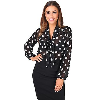 KRISP Stripe and Polka Dot Pussy Bow Blouse