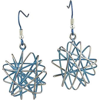 Ti2 Titanium Large Round Cage Chaos Hook Earrings - Sky Blue