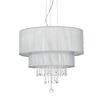 Ideal Lux Opera 6 Light Silver Drum Shade Crystal Pendant