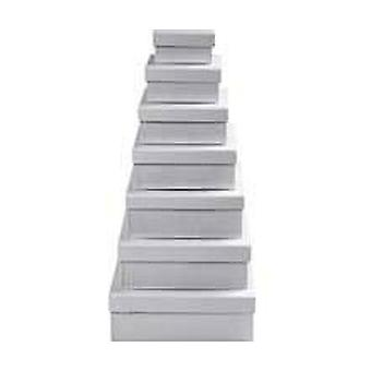 Square White Board Stacking Boxes - Set of 7 | Cardboard Gift Boxes