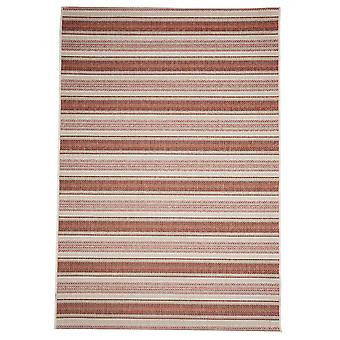 In - and outdoor carpet balcony / living room Riga Strip red and beige 135 x 190 cm