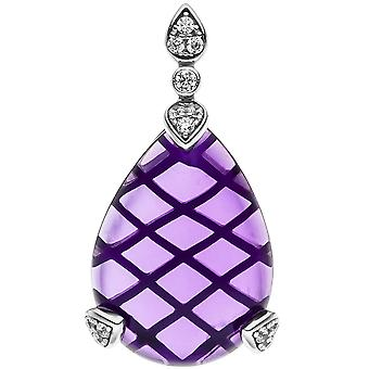 Trailer drop 925 sterling silver Amethyst 1 Purple 13 cubic zirconia