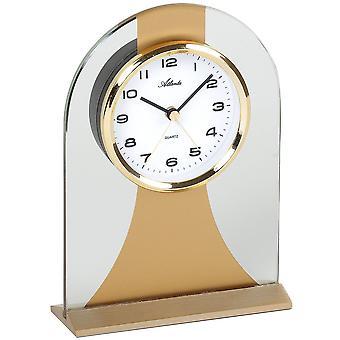 Атланта 3122/9 стиль Часы настольные часы WeckerQuarz Золотой стекла с функцией пробуждения