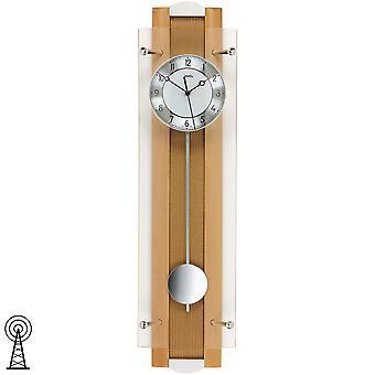 Funk-Wanduhr mit Pendel Buche Alu Mineralglas diamantgedrehtes Ziffernblatt