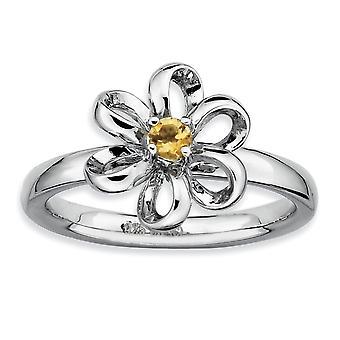 Sterling Silver Prong ställa rodium-plated stapelbar uttryck polerad Citrin Flower Ring - Ring storlek: 5 till 10
