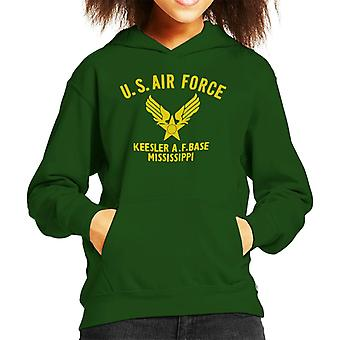 US Airforce Keesler AF Base Mississippi Yellow Text Kid's Hooded Sweatshirt