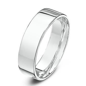 Bague de mariage alliances Star 18 carats or blanc lourd Flat Cour forme 5mm