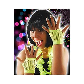 Gloves  Fishnet gloves bright yellow