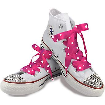 Shocking Pink Polka Satin Laces