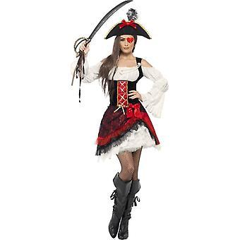 華やかな女性海賊衣装、英国ドレス 12-14
