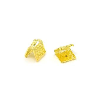 Packet 50+ Golden Plated Iron Rectangle Ribbon Ends 6 x 8mm HA13140