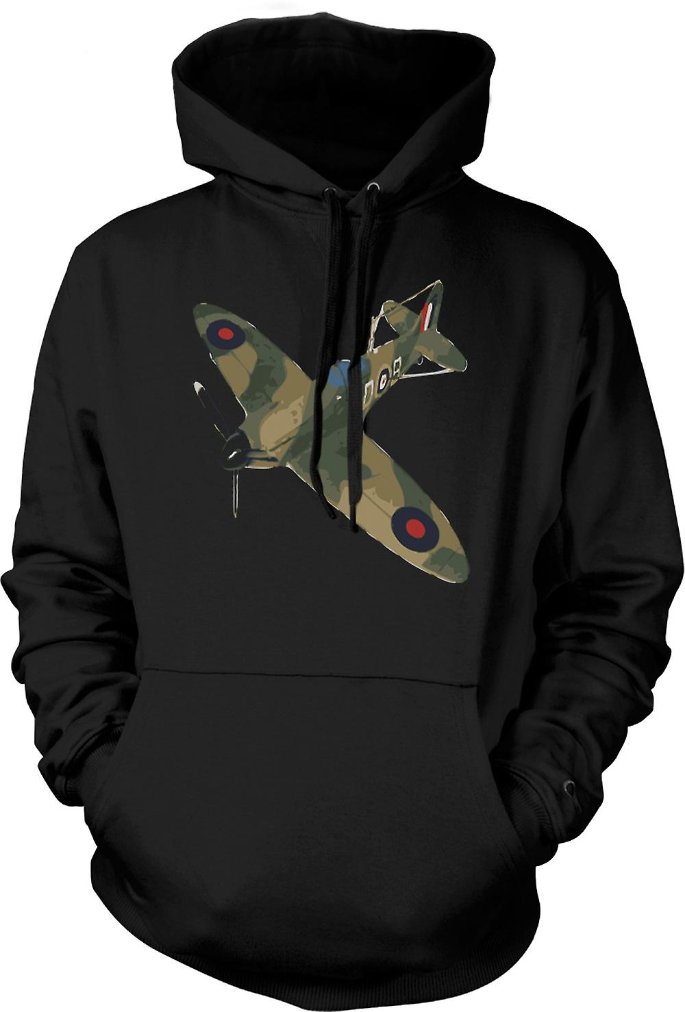 Mens Hoodie - Spitfire Green Cam Pop Art - Quote