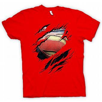 Kids T-shirt - New Super Man Costume - Superhero Ripped Design