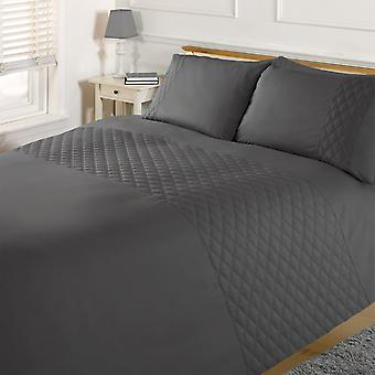 Brentfords Pinsonic Diamond Duvet Cover with Pillow Case Bedding Set, Charcoal