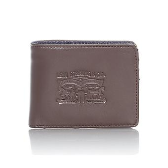 Levis Dark Brown Denim-Leather with Coin Bifold Wallet
