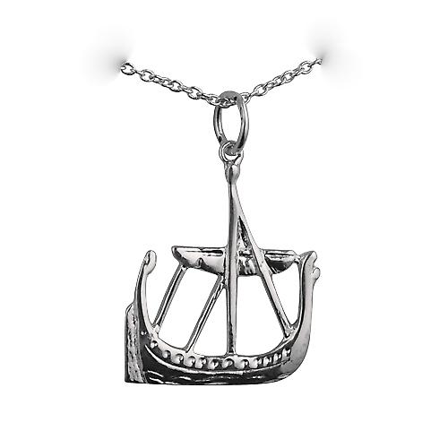 Silver 21x18mm solid Viking Ship Pendant with a rolo Chain 14 inches Only Suitable for Children