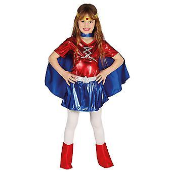 Flickor röd & blå superhjälte Fancy Dress kostym