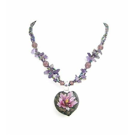Nature Jewelry Glass Pendant Amethyst Glass Beads & Nuggets Necklace