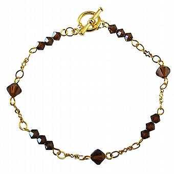 22k Gold Plated Smoked Topaz Crystals Bracelet Gold Bracelet Jewelry
