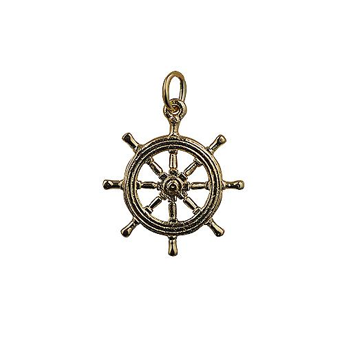 9ct Gold 21mm Ship's Wheel Pendant or Charm