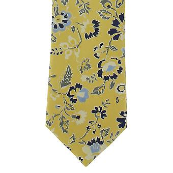 Michelsons of London Foliage Floral Polyester Tie - Yellow