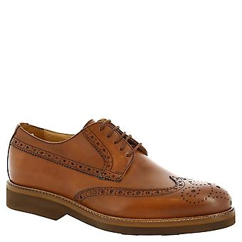 Leonardo Shoes Man's handmade lace ups in tan leather with brogues