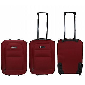 23 Litre Wheeled Hand Luggage Bag Tag Handle 49Cm X 33Cm X 18Cm Red Pack of 2 (2130RD)