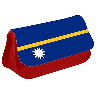 Nauru Flag Printed Design Pencil Case for Stationary/Cosmetic - 0122 (Red) by i-Tronixs